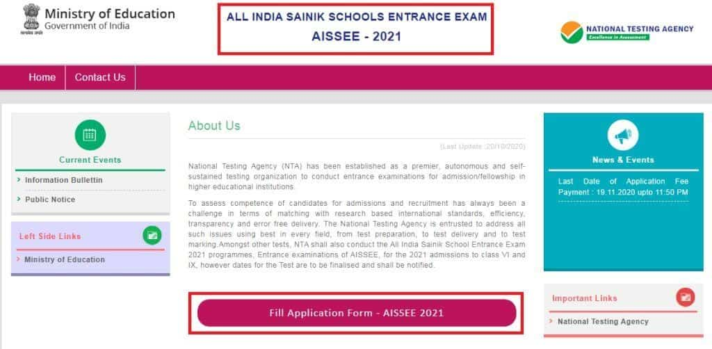 AISSEE Entrance Exam Online Form