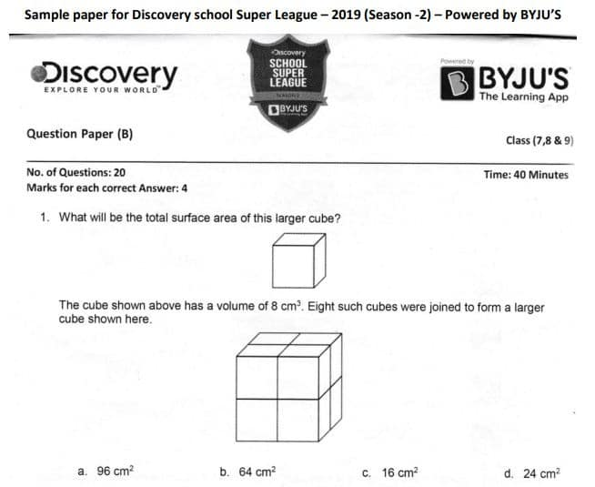 Byju's Super League Sample Papers