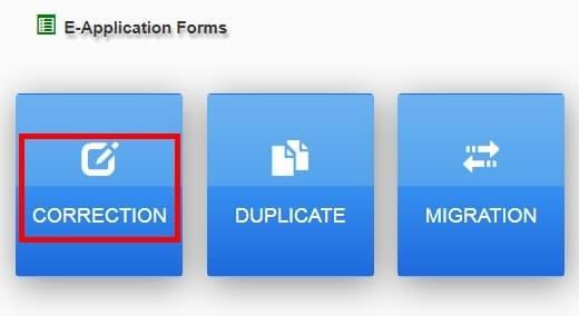 Choose Correction Option Here