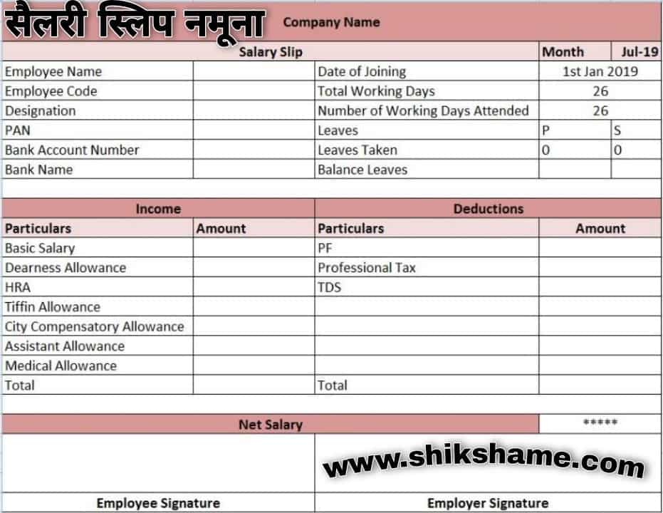 Pay Slip Format pdf / excel / word
